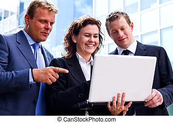 busy business people working with laptop
