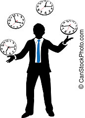Busy business person juggles time clock - Busy business man...