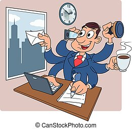 Busy businessman at office 2