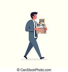 busy businessman carrying paper box stack of documents overloaded business man office worker going male cartoon character full length flat isolated