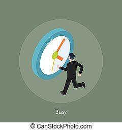 Busy businessman concept design 3d isometric vector illustration