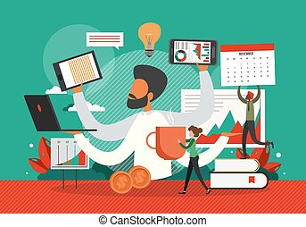 Busy businessman in a hurry with many hands holding laptop, smart phone, documents. Business concept vector illustration. Multitasking office worker