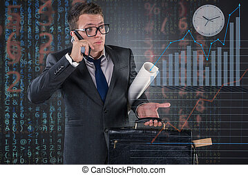 Busy businessman in business concept