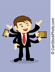 Busy Businessman Multitasking with Multiple Arms Vector...