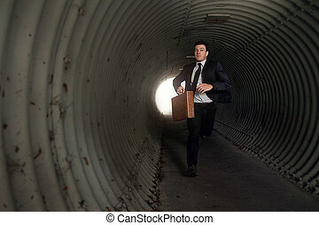Busy Businessman Running in a tunnel.