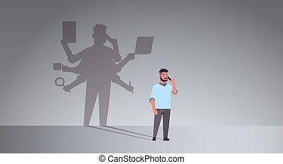 busy businessman talking on phone shadow of business man with many hands multitasking overworked concept male cartoon character standing pose full length flat horizontal