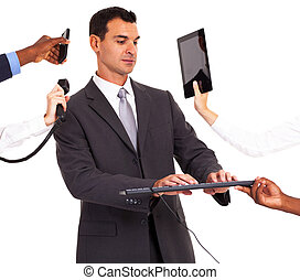 busy businessman working with multiple gadgets isolated on ...