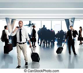 Busy businesspeople in the airport