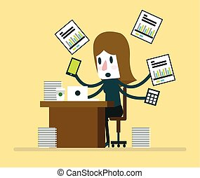Busy businesswoman working with paperwork on her desk at...
