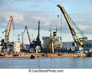 Large and busy sea port in Murmansk, Russia.