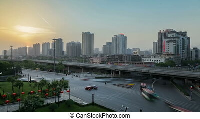 Busy cars and trains on main roads ,xian,shaanxi,China -...