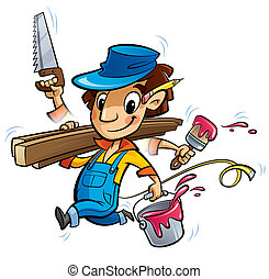 Busy cartoon carpenter character doing many things at same...