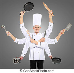 busy chef concept - Busy chef concept with many hand on grey...