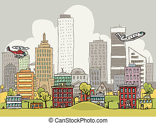 Busy City - A busy, cartoon city in day.