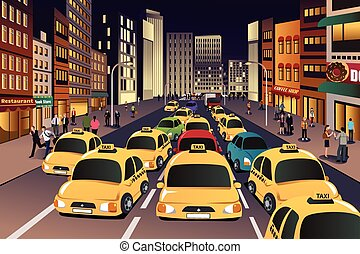 A vector illustration of busy city in the evening