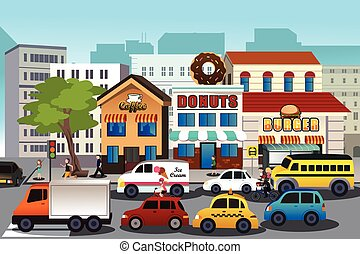 Busy city in the morning - A vector illustration of busy...