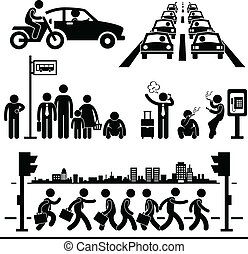 A set of pictograms representing hectic city life in urban area.