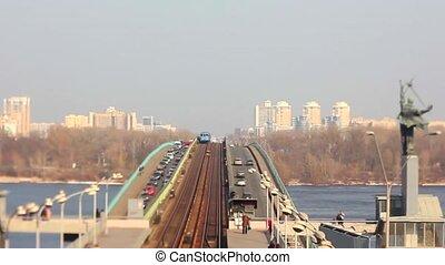 Zooming busy city traffic time lapse of Kiev Ukraine, tilt shift