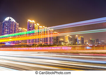 busy city traffic at night