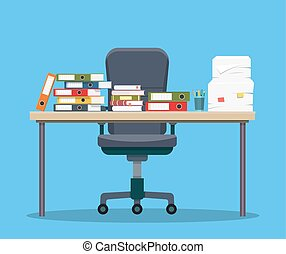 Busy cluttered office table. Hard work. Office interior with...