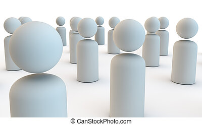 busy crowd of people as a 3d render