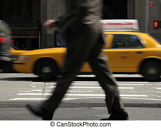 Busy Day - This is a motion blur of a business man walking...