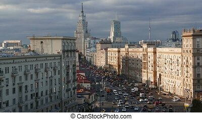 Busy day traffic, Establishing shot. Moscow, Zemlyanoy val, Garden Ring road