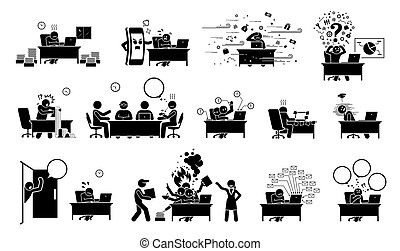 Busy executive, CEO, worker, or businessman at office stick figure pictogram icons.