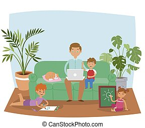 Busy father working at home banner vector illustration. Dad sitting on sofa in living room interior using laptop while son and daughter painting or drawing. Cat sleeping on pillow.