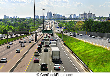 Busy highway - Busy multi-lane highway in a big city