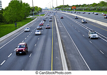Busy multi-lane highway in a big city