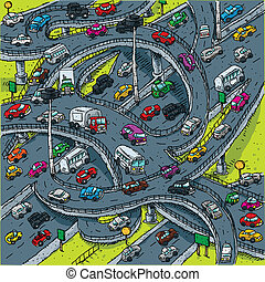 A busy, cartoon highway intersection.