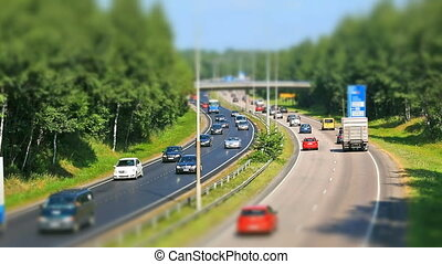 Busy highway timelapse - Summer busy highway timelapse with...