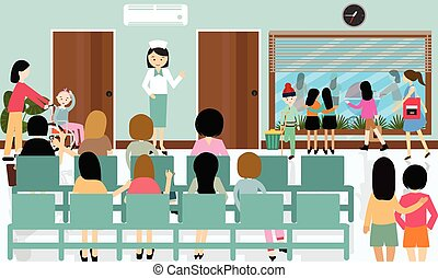 busy hospital corridor activities nurse patient in queue waiting doctor