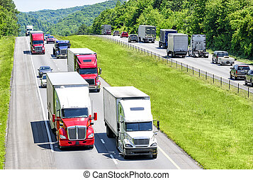 Busy Interstate Highway - A heavy flow of 18-wheelers...