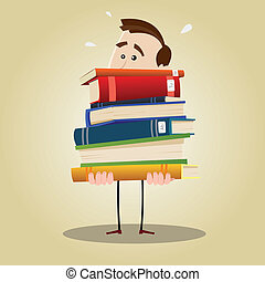 Illustration of a busy librarian holding a weighty pile of books