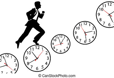 Busy man hurry up work day clock - Busy business man hurries...