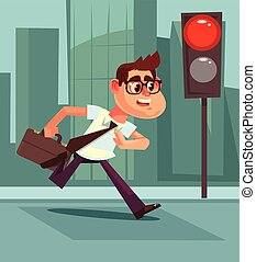 Busy man pedestrian character violate rules of road. Vector flat cartoon illustration