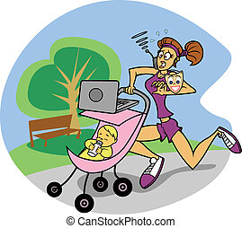Busy Mom on the Run - An editable vector cartoon of a...