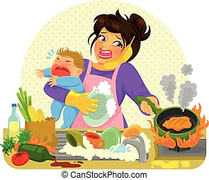 busy mom - stressed young woman doing many tasks while...