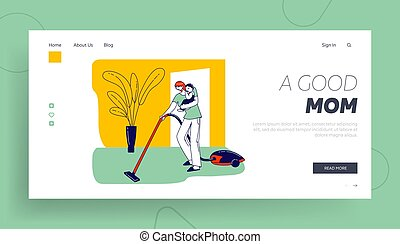 Busy Mother Houseworking Landing Page Template. Female Character with Vacuum Cleaner and Baby on Hands Household Chores