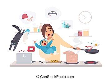 Busy mother with baby, multitask woman. Motherhood, cartoon flat illustration.