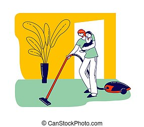 Busy Mother with Vacuum Cleaner and Baby on Hands doing Household Chores. Female Character Houseworking, Cleaning Home