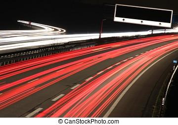 motorway - busy motorway at night