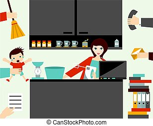 Busy multitask woman, mother managing her work with smile.