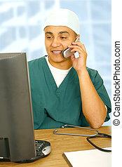 Busy Nurse Multitasking