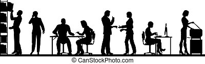 Busy office - Editable vector silhouettes of people in a...