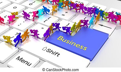 Busy online business keyboard businessmen running around