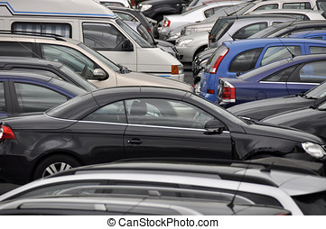 Busy parking lot - Crowded parking lot crammed full of...