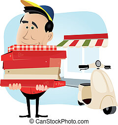 Illustration of a cartoon pizzaman holding a weighty pile of pizza